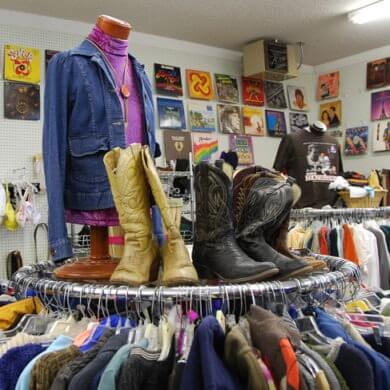 Thrift store featuring boots and records