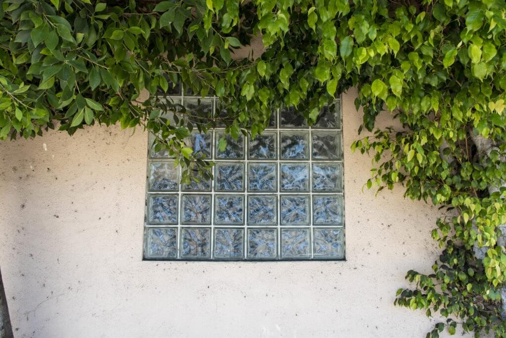 Window made of glass bricks.