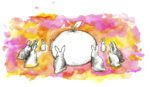 Illustration with giant orange surrounded by bunnies