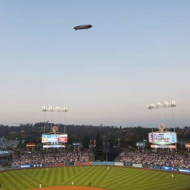 The Goodyear Blimp above Dodger Stadium