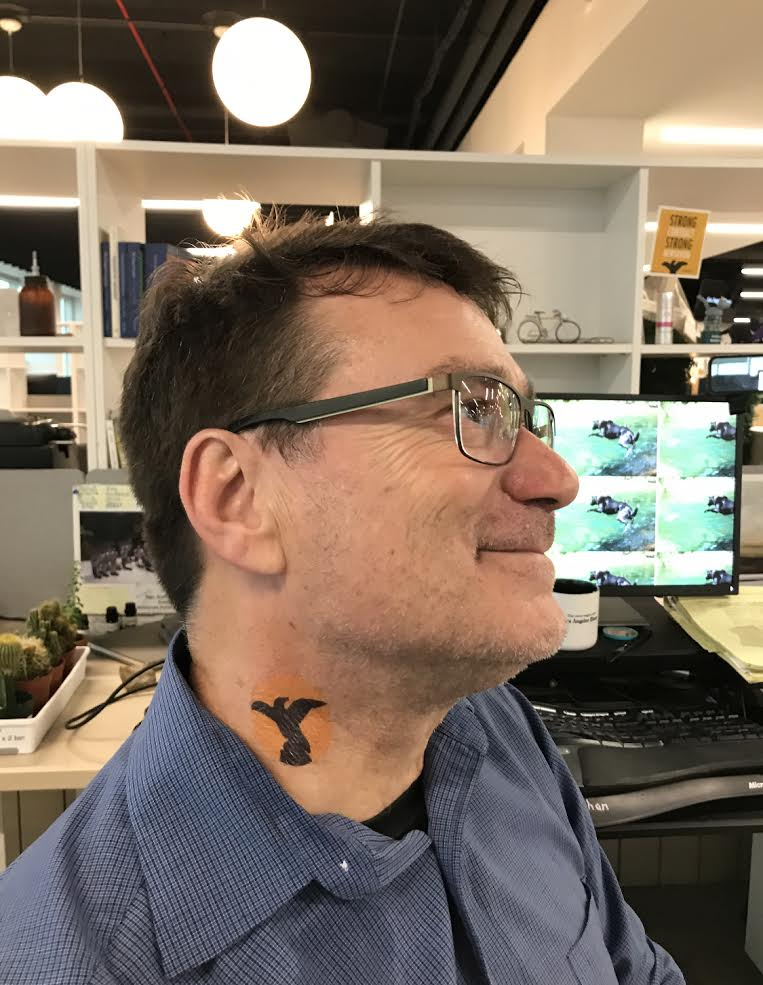 Geoff Mohan sporting an L.A. Times Guild temporary tattoo.