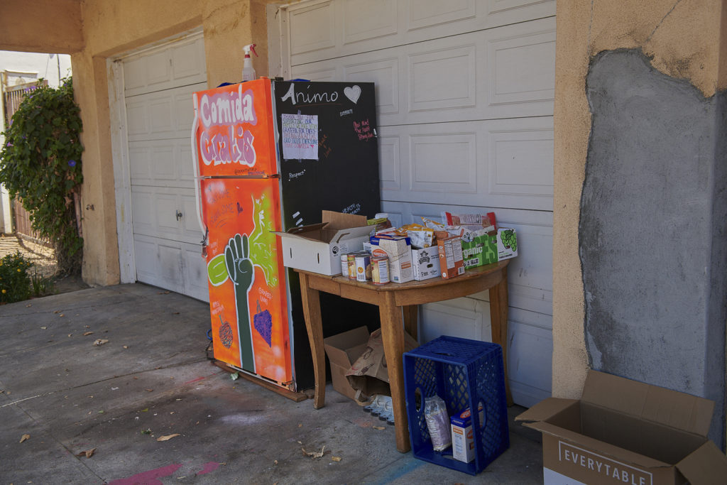 A community refrigerator located at 5044 W. 21st St., Los Angeles, CA 90016.