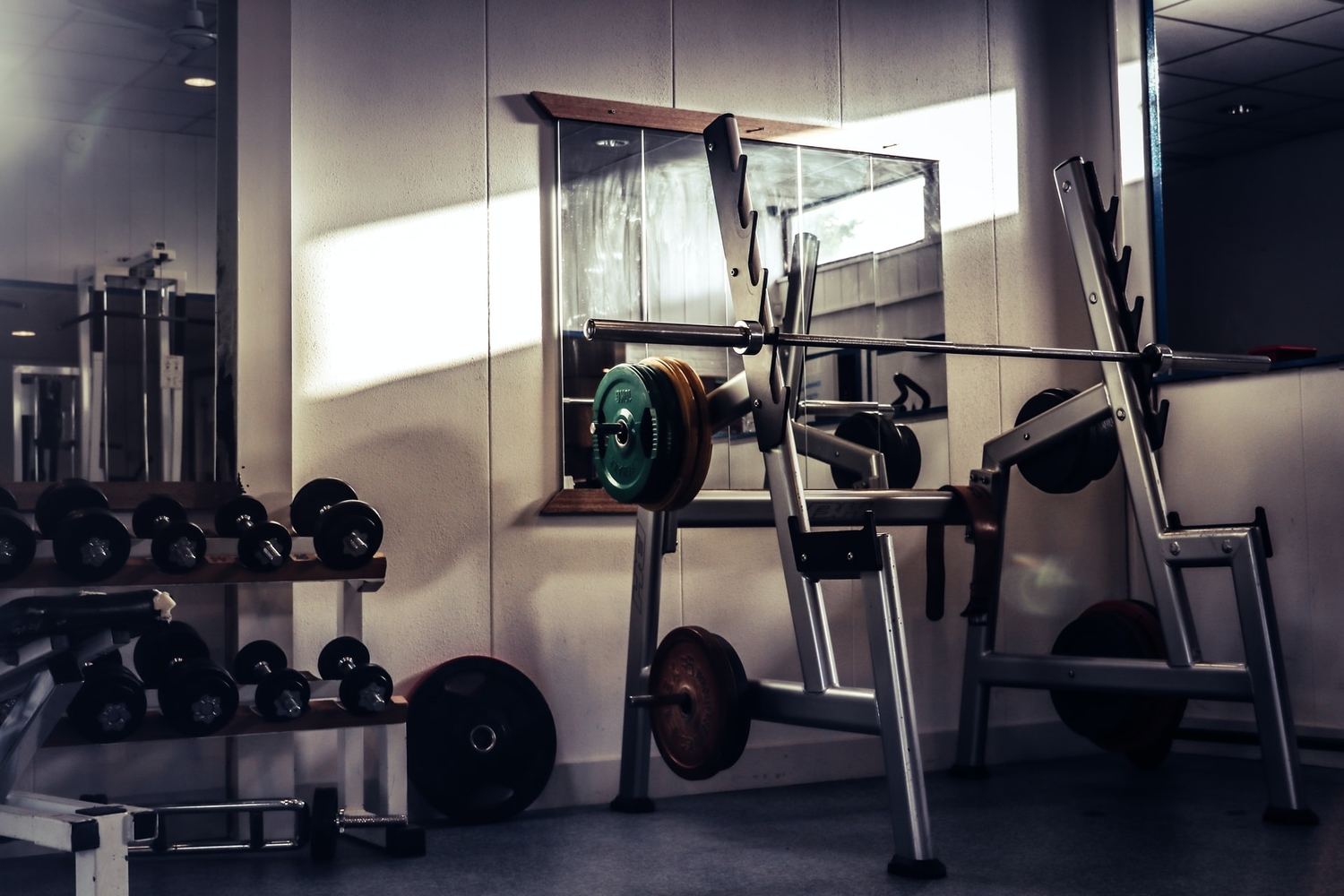 A photo of a weight-lifting equipment at an indoor gym.